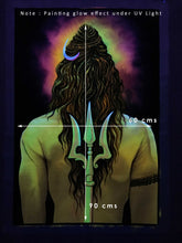 Load image into Gallery viewer, UV Glow Lord Shiva Back painting made from fluorescent colors