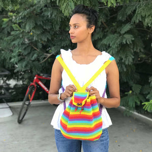 Crochet Rainbow backpack hand-crafted with crochet work