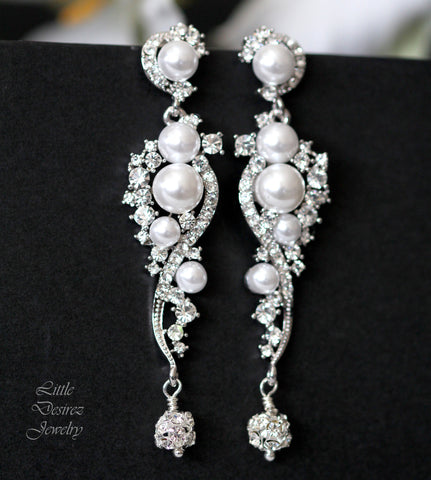 Pearl Crystal Earrings White Pearl Earrings DEW DROPS