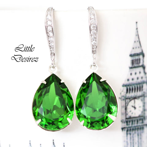 Green Crystal Earrings FG-31