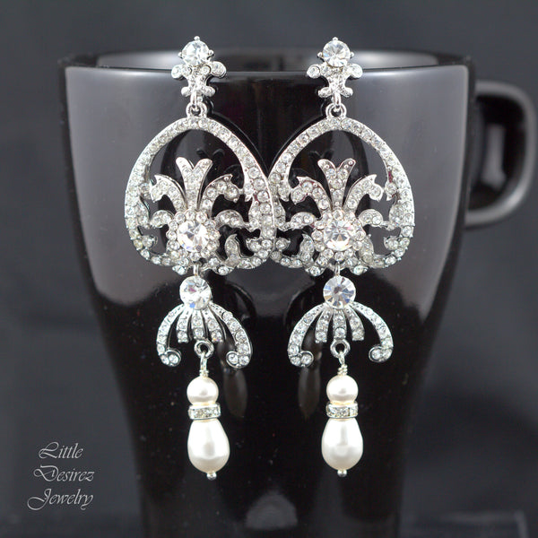Chandelier Earrings Vintage Style Bridal Earrings CLAIRE