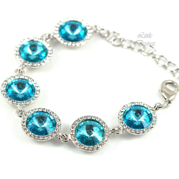 Blue Bracelet Crystal Bridal Jewelry TQ-34