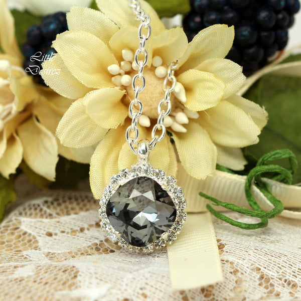 Grey Crystal Necklace Charcoal Grey SN-50