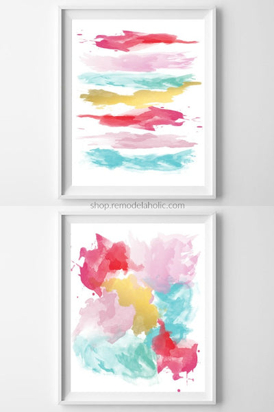 Colorful Abstract Brushstroke Art Printable Set