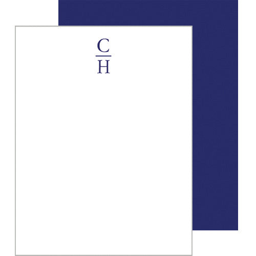 Stacked Initials Personalized Flat Notecards | More Colors