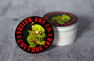 Sullen Art Co and Culture Lab Printed Round Stickers by Rockin Monkey of San Antonio