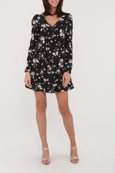 Black Printed Floral Dress - Front