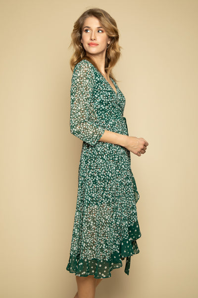 Green Floral Wrap Dress - Side