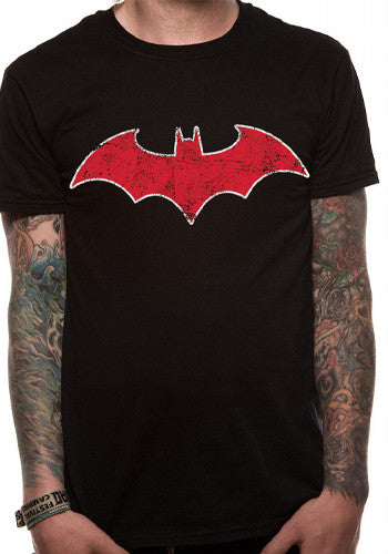 Mens Batman T Shirt / Red Bat Logo