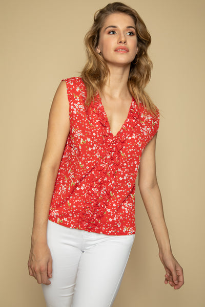 Red Floral Summer Top - Front