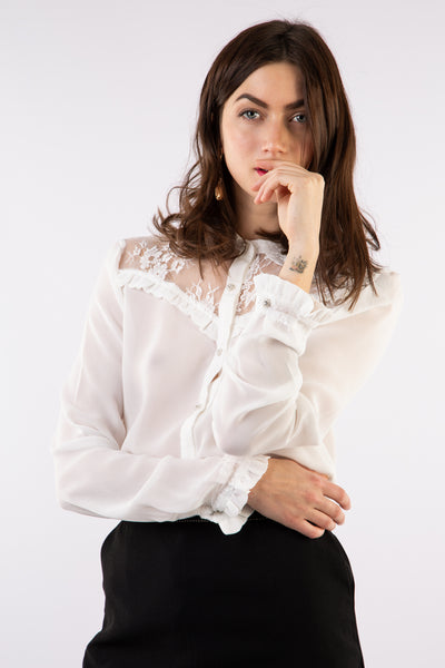 White Long Sleeve Lace Blouse - Front