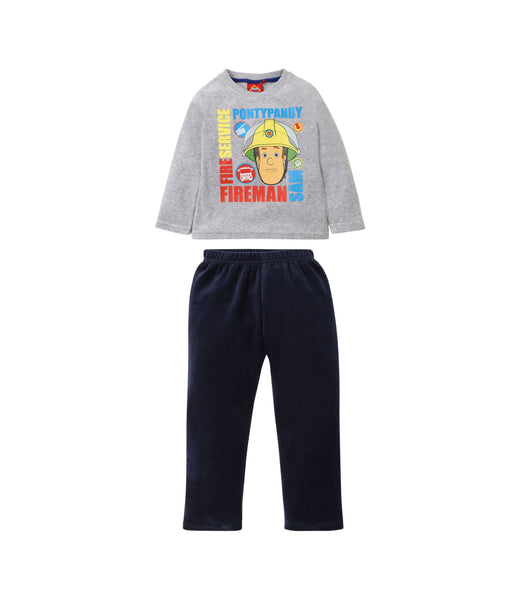 Boys Velour Pyjamas Fireman Sam - Grey