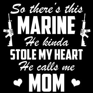 Graphics Decals - Marine Mom Marine Stole My Heart Decal