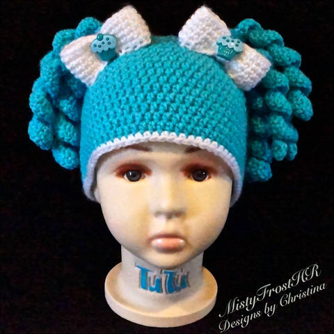 *****  Digital Crochet Pattern  *****      Candy Shop Pigtail Hat