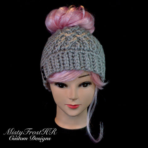 *****     Digital Crochet Pattern     *****     Chunky Celtic Messy Bun Hat