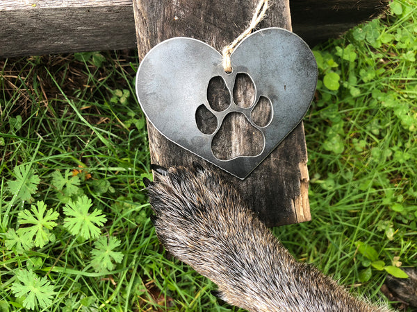 Dog PAW Heart Rustic Raw Steel Metal Ornament