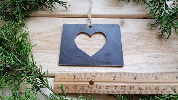 Colorado State Ornament Rustic Raw Steel CO Metal State Heart Host Gift Keepsake Travel Wedding Favor By BE Creations