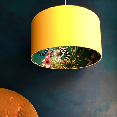 Lemurs Lined Yellow Silhouette Lampshade