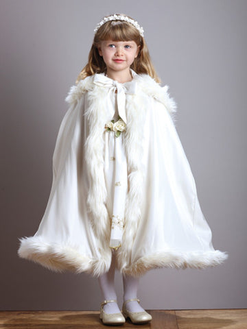 Children's Hooded Satin Cloak with Faux Fur Trim - Marry Me Wedding Accessories & Gifts