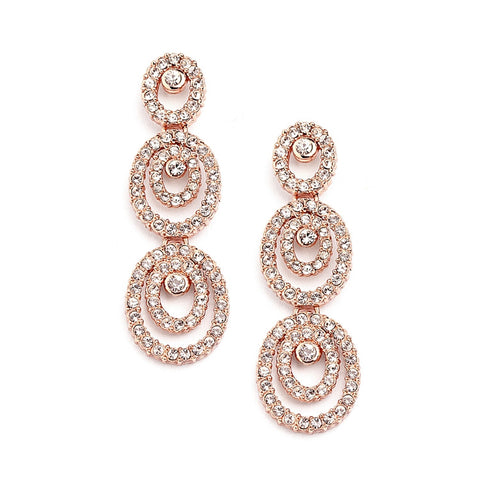 Concentric Ovals Rose Gold Wedding Earrings with Cubic Zirconia - Marry Me Wedding Accessories & Gifts
