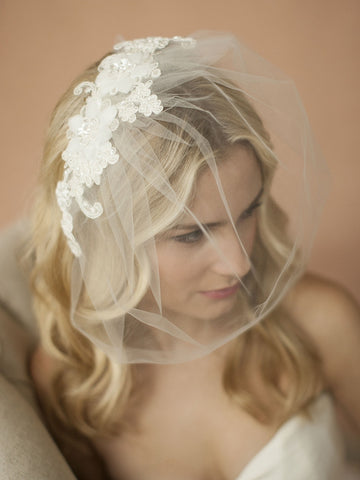 Double Flower Ivory Lace Applique on Handmade Tulle Birdcage Blusher Veil - Marry Me Wedding Accessories & Gifts
