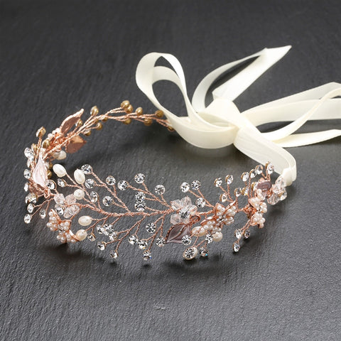 Bridal Headband with Hand Painted Rose Gold and Silver Leaves - Marry Me Wedding Accessories & Gifts