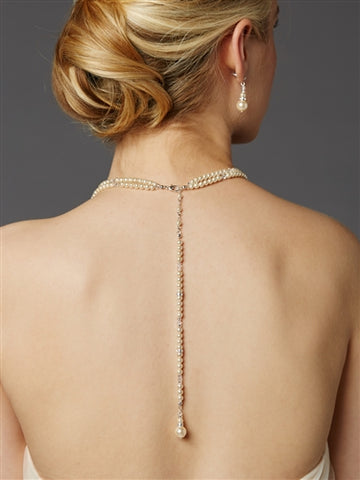 2-Row Glass Pearl Bridal Back Necklace with Dramatic Backdrop - Marry Me Wedding Accessories & Gifts