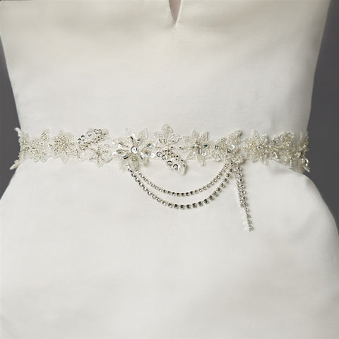 Floral Bridal Sash with Beaded European Wedding Lace - Marry Me Wedding Accessories & Gifts