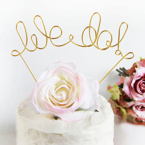 We Do Wire Wedding Cake Topper - Gold