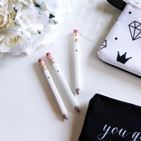 Gold Foil White Mini Pencils - Marry Me Wedding Accessories & Gifts