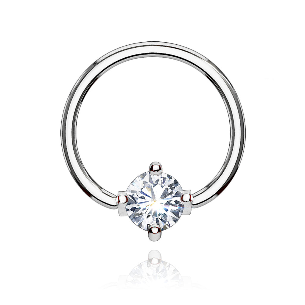 Solitaire Gem Hoop Ear Piercing - silver