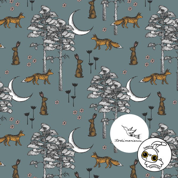 Crescent Forest Organic Stretch French Terry by Jumping June Textiles