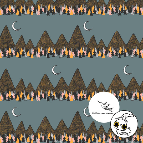 Crescent Mountains Organic Stretch French Terry by Jumping June Textiles