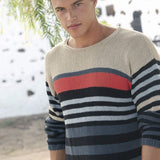 Men's sweater in Linova linen cotton knitting yarn Rebecca Knit Kit, I Wool Knit