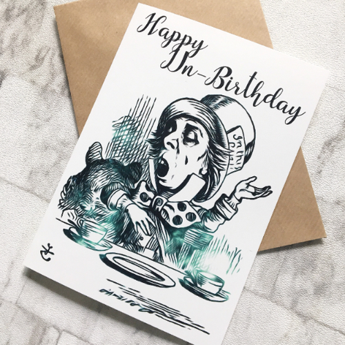 Alice In Wonderland Birthday Card - Mad Hatter