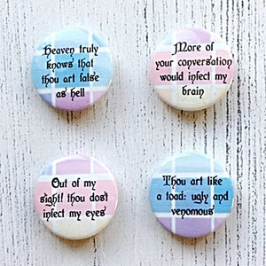 William Shakespeare Insults - 4 Badge Pack - Nabu - Literary Gifts For Book Lovers