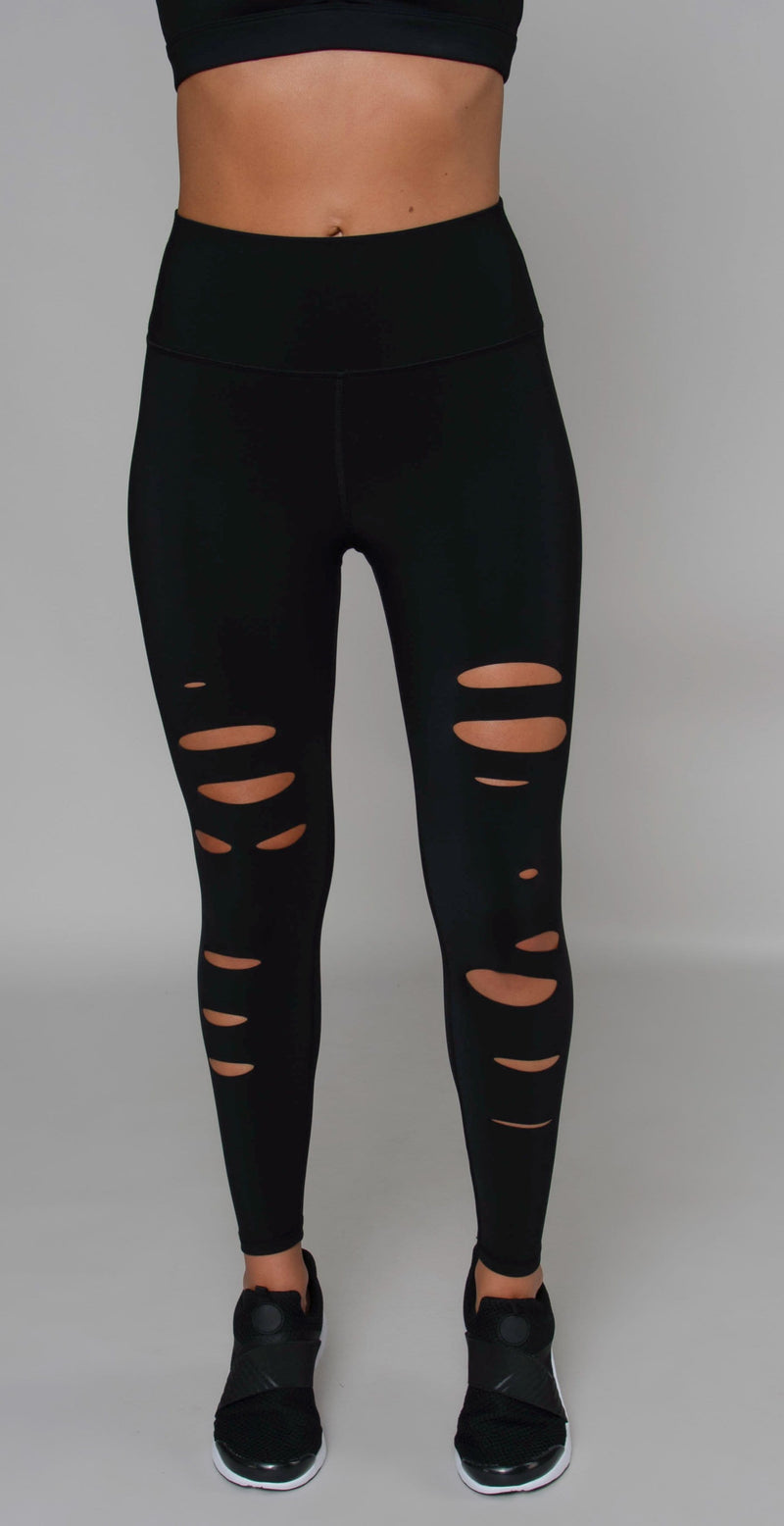 Alo Yoga High-Waist 7/8 Ripped Warrior Legging Black