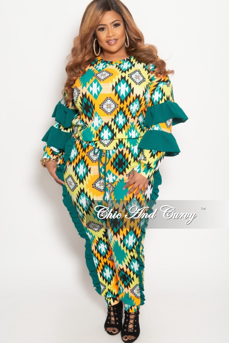Final Sale Plus Size 2-Piece Ruffle Top and Jogging Pants Set in Hunter Green Multi Color Aztec Print