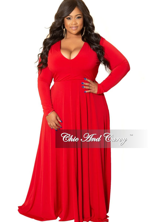 New Plus Size Long Sleeve Gown with V-Neck in Red