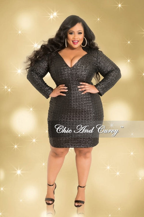 Final Sale Plus Size Long Sleeve V-Neck Sequin Dress in Black (Seasonal)
