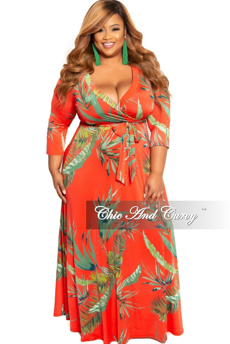 New Plus Size Deep V-Neck Faux Dress with 3/4 Sleeves in Dark Orange Leaf Print