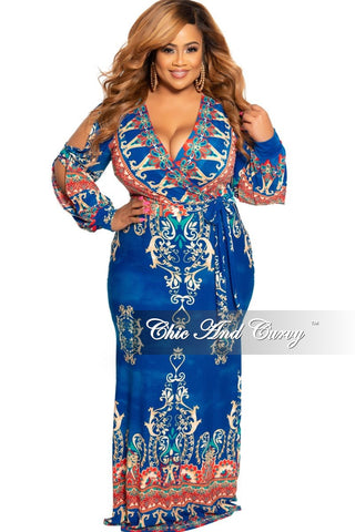 New Plus Size Deep V-Neck Faux Wrap Dress with 3/4 Sleeves in Hot Pink Multi Color Floral Print