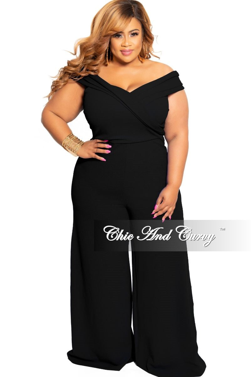 New Plus Size Off the Shoulder Jumpsuit in Black – Chic And Curvy