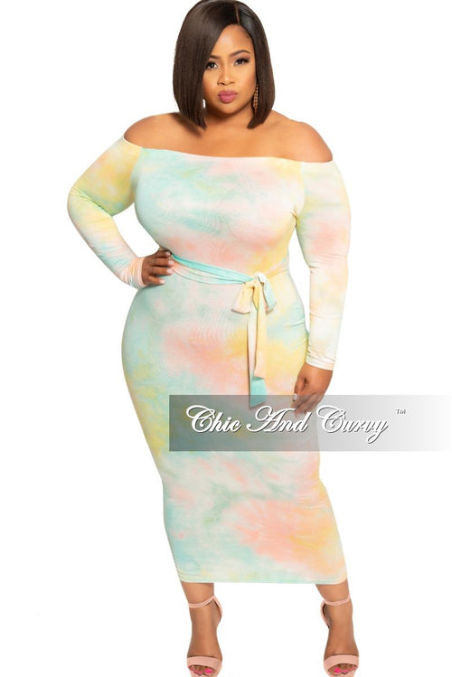 af0ca2150cf8 New Plus Size Off the Shoulder Long Sleeve BodyCon Dress with Attached Tie  in Multi Color