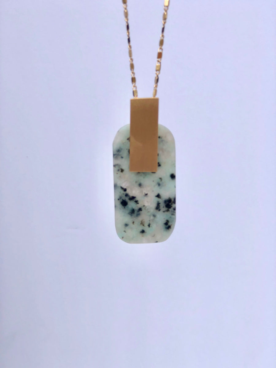 Stone Tag Long Necklace: Grey - ShopSpoiled