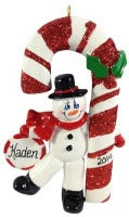 Candy Cane Snowman - Made of Resin