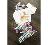 Fall Floral LITTLE SISTER Newborn Outfit - Gigi and Max