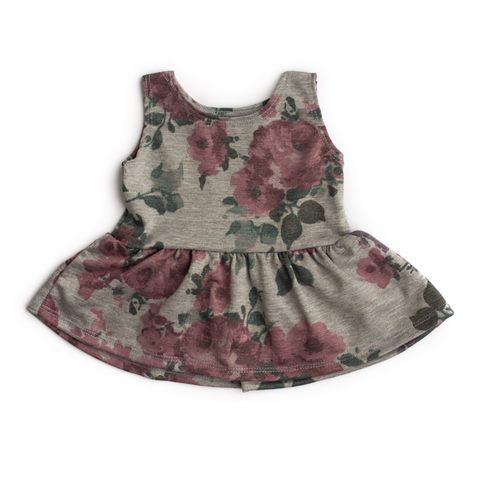Julia Heathered Gray Floral Peplum Tank - Gigi and Max