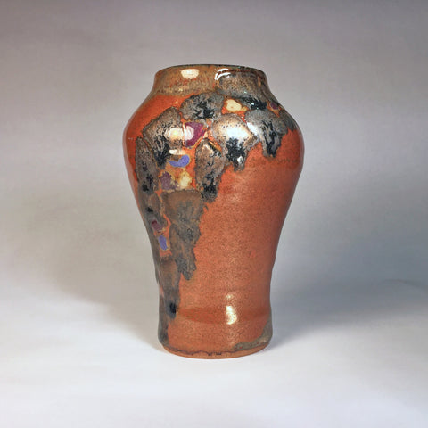 Designer Jewel-Toned Vase/Elegant Shape/Exciting Mixed Glaze Effects!