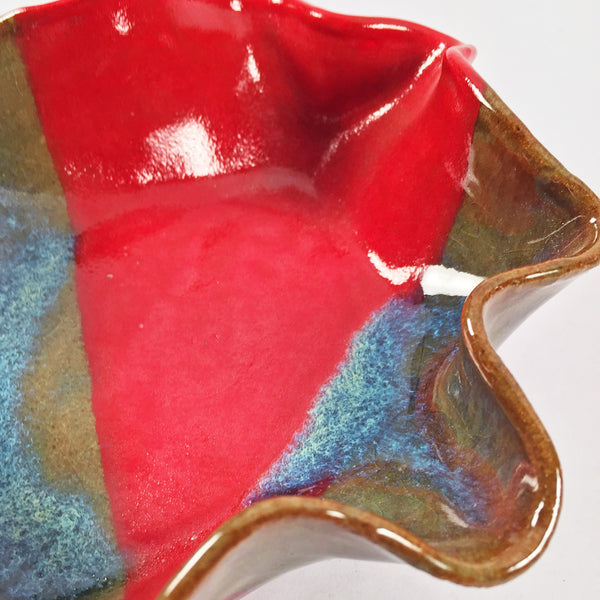 THROWN & ALTERED OCTA-LOBED BOWL-Red Band/Turquois Deposits SHIPS FREE!